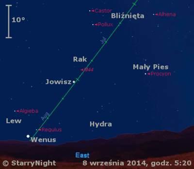 Położenie Jowisza iWenus wdrugim tygodniu września 2014 r.