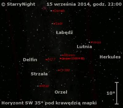 Położenie Komety Jacquesa (C/2014 E2) wtrzecim tygodniu września 2014 r.