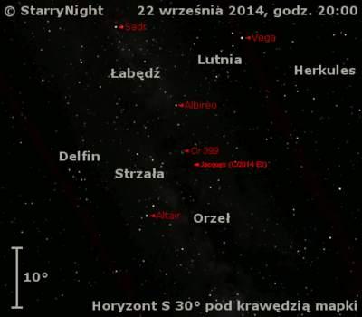 Położenie Komety Jacquesa (C/2014 E2) wczwartym tygodniu września 2014 r.