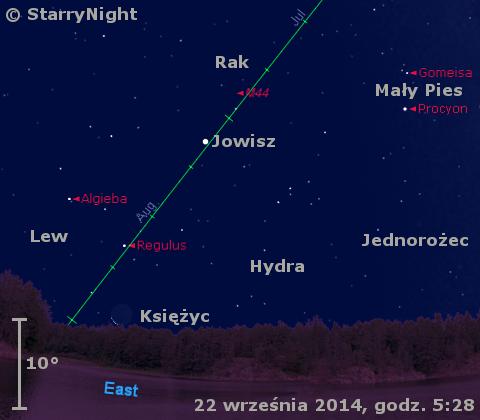 Położenie Jowisza i Ksieżyca w czwartym tygodniu września 2014 r.
