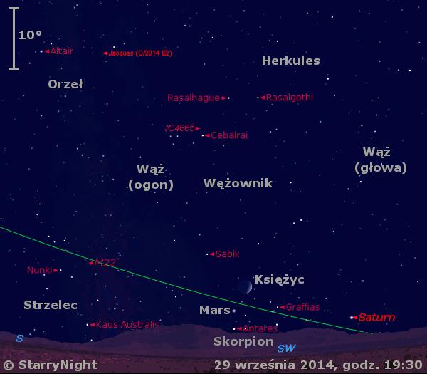 Położenie Księżyca, Marsa, Saturna i Komety Jacquesa w pierwszym tygodniu października 2014 r.