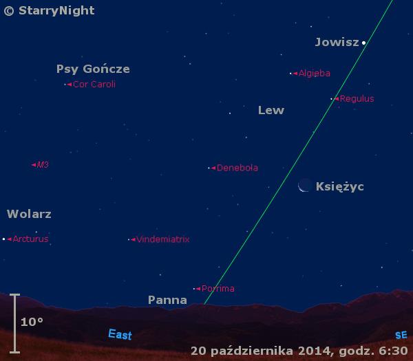 Położenie Księżyca, Jowisza i Merkurego w czwartym tygodniu października 2014 r.
