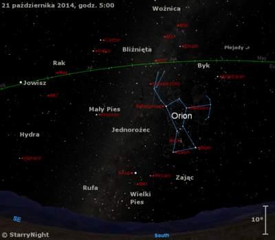 Położenie radiantu Orionidów w czwartym tygodniu października 2014 r.