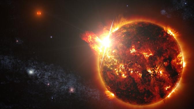 Wizja artystyczna układu podwójnego czerwonych karłów. Na obrazie zostały umieszczone także potężne rozbłyski, takie jakie zarejestrowała satelita Swift.