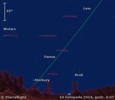 Położenie Merkurego i Księżyca w drugim tygodniu listopada 2014 r.