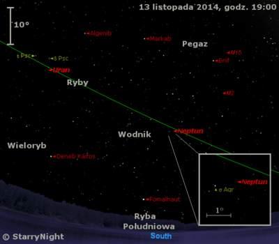 Położenie Urana i Neptuna w drugim tygodniu listopada 2014 r.