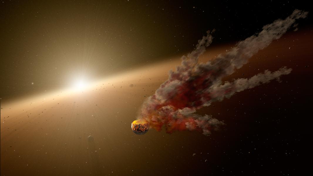 Artystyczna wizja zderzenia planetoid