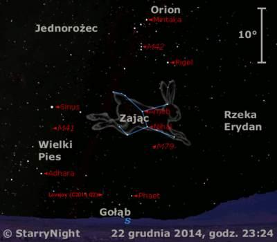 Położenie Komety Lovejoya (C/2014 Q2) wczwartym tygodniu grudnia 2014 r.