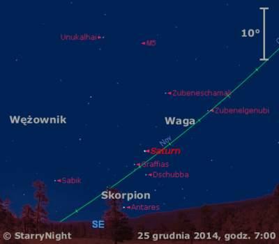 Położenie Saturna wczwartym tygodniu grudnia 2014 r.