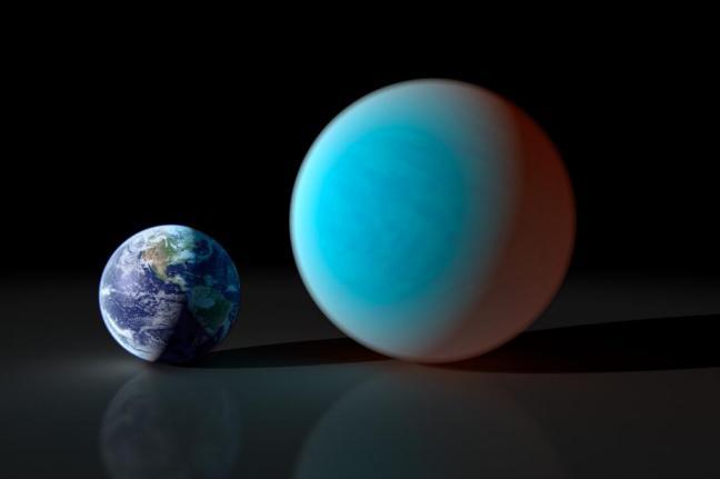Porównanie rozmiarów Ziemi i planety 55 Cancri e