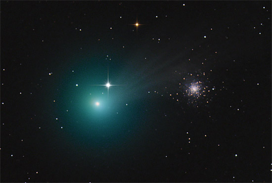 Kometa Lovejoya z gromadą kulistą M79