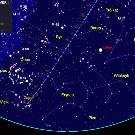 Mapa widoczności komety C/2014 Q2 (Lovejoy)