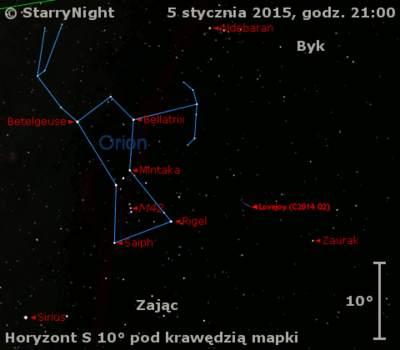 Położenie Komety Lovejoya (C/2014 Q2) w końcu pierwszej dekady stycznia 2015 r.