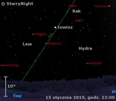 Położenie Jowisza napoczątku drugiej dekady stycznia 2015 r.