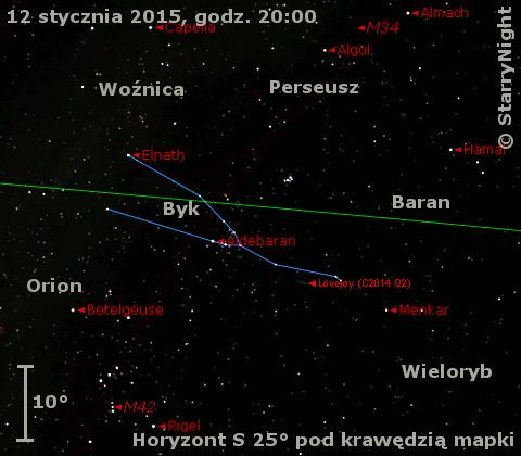 Położenie Komety Lovejoya (C/2014 Q2) na początku drugiej dekady stycznia 2015 r.