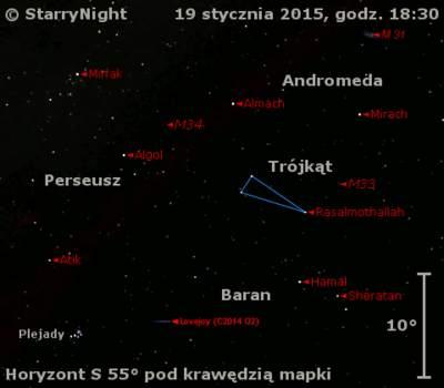 Położenie Komety Lovejoya (C/2014 Q2) w trzecim tygodniu stycznia 2015 r.