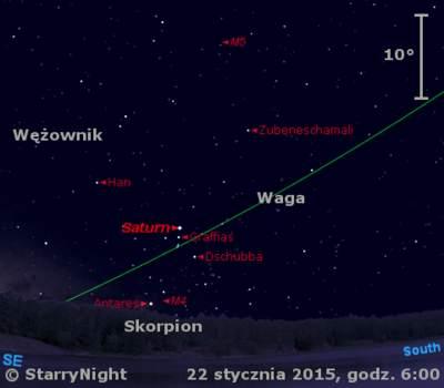Położenie Saturna w trzecim tygodniu stycznia 2015 r.