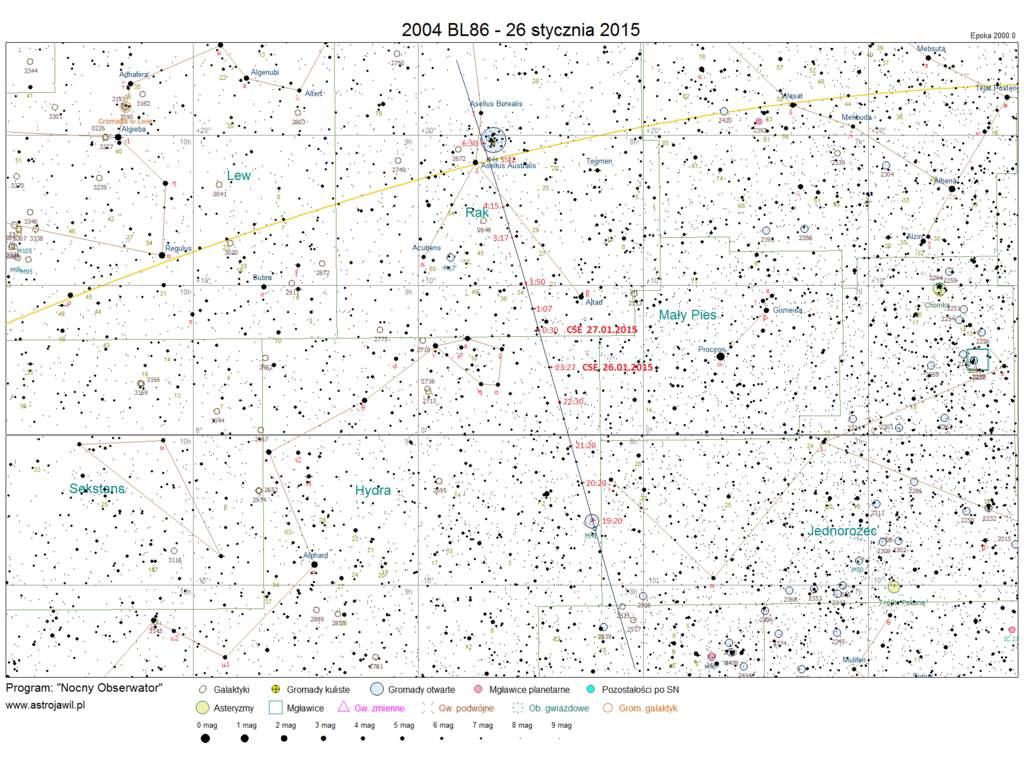 Trasa planetoidy 2004 BL 86 wśród gwiazd 26/27 stycznia 2015 r.