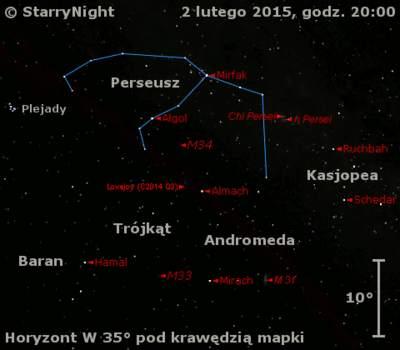 Położenie Komety Lovejoya (C/2014 Q2) wpierwszym tygodniu lutego 2015 r.