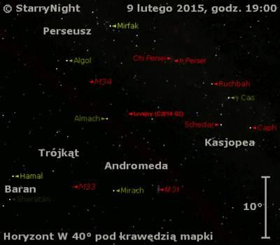 Położenie Komety Lovejoya (C/2014 Q2) wdrugim tygodniu lutego 2015 r.