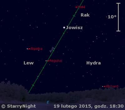 Położenie Jowisza wtrzecim tygodniu lutego 2015 r.