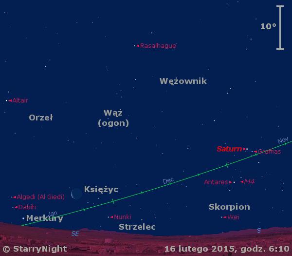 Położenie Księżyca, Saturna i Merkurego w trzecim tygodniu lutego 2015 r.