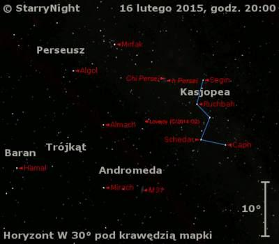 Położenie Komety Lovejoya (C/2014 Q2) wtrzecim tygodniu lutego 2015 r.