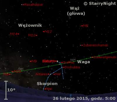 Położenie Saturna wczwartym tygodniu lutego 2015 r.