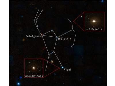 Badane gwiazdy konstelacji Oriona