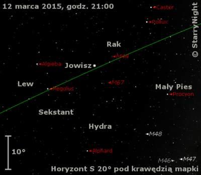 Położenie Jowisza w drugim tygodniu marca 2015 r.