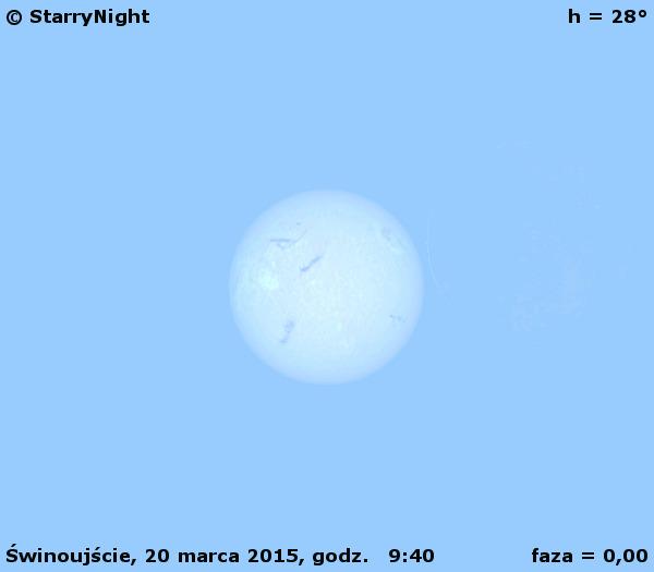 Przebieg częściowego zaćmienia Słońca 20 marca 2015 r. w Świnoujściu