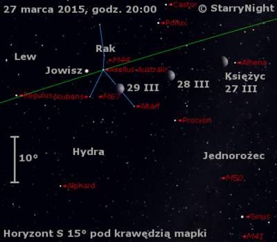 Położenie Jowisza i Księżyca w ostatnim tygodniu marca 2015 r.