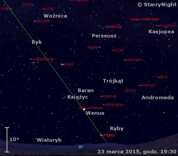 Położenie Księżyca, Wenus i Marsa  oraz Komety Lovejoya w ostatnim tygodniu marca 2015 r.