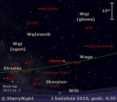 Położenie Saturna i Nowej w Strzelcu 2015 nr 2 w pierwszym tygodniu kwietnia 2015 r.