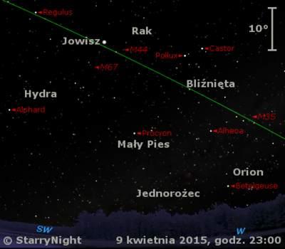 Położenie Jowisza w drugim tygodniu kwietnia 2015 r.