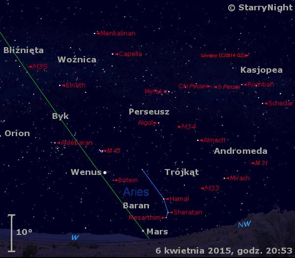 Położenie Wenus i Marsa oraz Komety Lovejoya w drugim tygodniu kwietnia 2015 r.