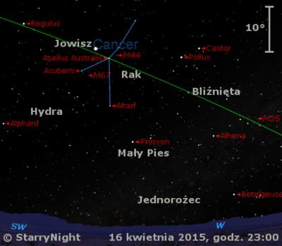 Położenie Jowisza w trzecim tygodniu kwietnia 2015 r.