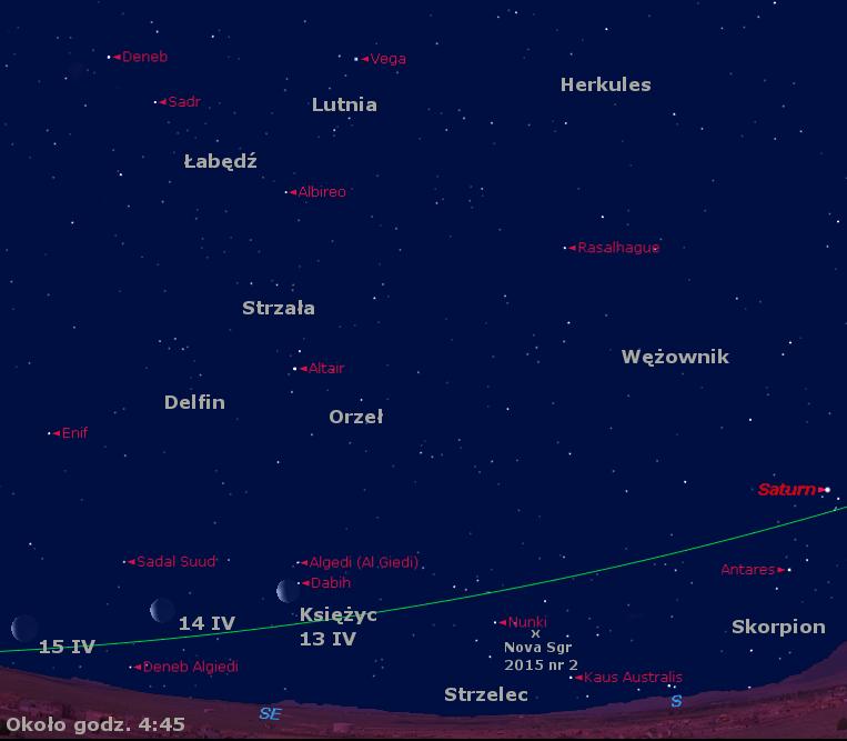 Położenie Księżyca, Saturna i Nowej w Strzelcu 2015 nr 2 w trzecim tygodniu kwietnia 2015 r.