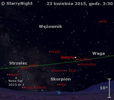 Położenie Księżyca, Saturna i Nowej w Strzelcu 2015 nr 2 w czwartym tygodniu kwietnia 2015 r.