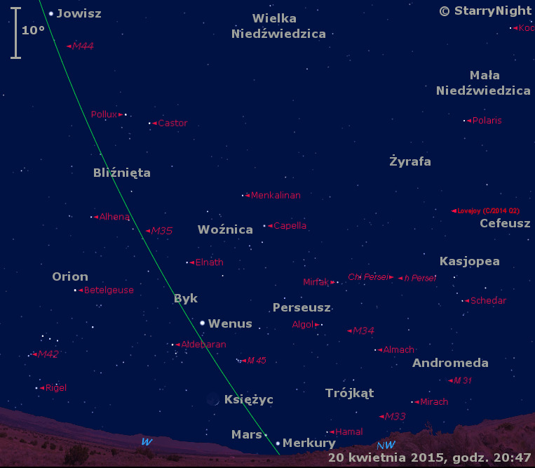 Położenie Wenus, Marsa, Merkurego, Jowisza, Komety Lovejoya i Księżyca w czwartym tygodniu kwietnia 2015 r.