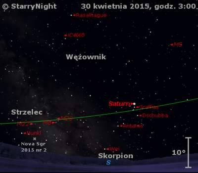 Położenie Saturna i Nowej w Strzelcu 2015 nr 2 na przełomie kwietnia i maja 2015 r.