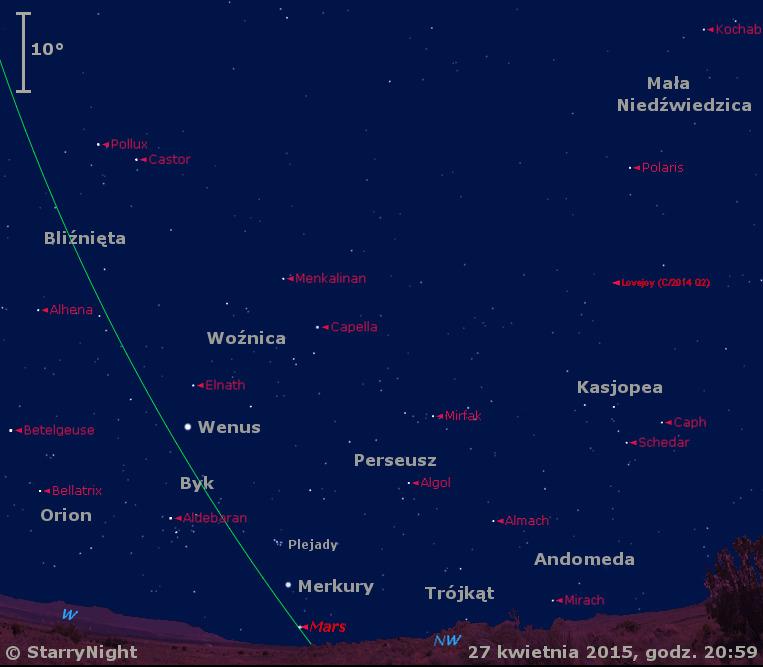 Położenie Wenus, Marsa i Merkurego oraz Komety Lovejoya  na przełomie kwietnia i maja 2015 r.