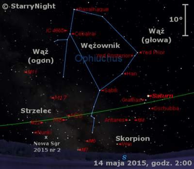 Położenie Saturna iNowej wStrzelcu 2015 nr2 napoczątku drugiej dekady maja 2015 r.