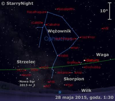 Położenie Saturna iNowej wStrzelcu 2015 nr2 wostatnim tygodniu maja 2015 r.
