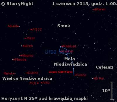 Położenie Komety Lovejoya (C/2014 Q2) w pierwszym tygodniu czerwca 2015 r.