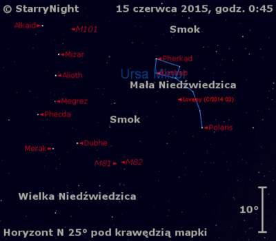 Położenie Komety Lovejoya (C/2014 Q2) wtrzecim tygodniu czerwca 2015 r.