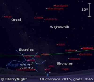 Położenie Saturna iNowej wStrzelcu 2015 nr2 wtrzecim tygodniu czerwca 2015 r.