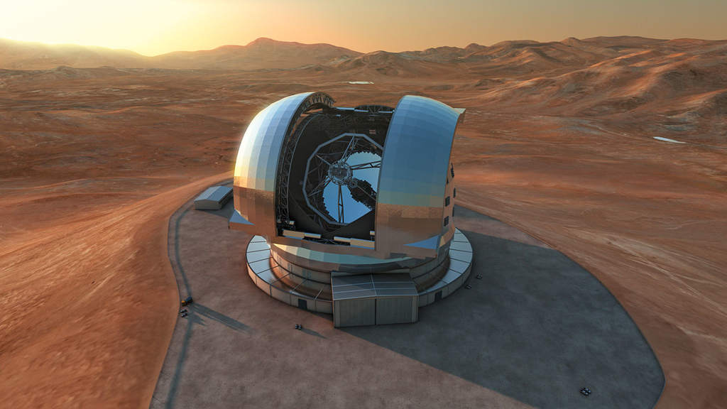 Wizualizacja 39-metrowego teleskopu E-ELT
