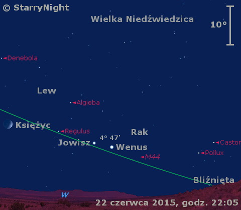 Położenie Wenus i Jowisza w czwartym tygodniu czerwca 2015 r.