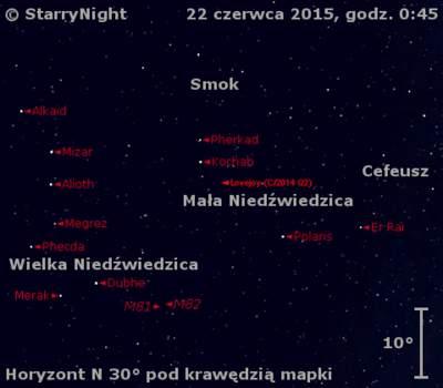 Położenie Komety Lovejoya (C/2014 Q2) wczwartym tygodniu czerwca 2015 r.